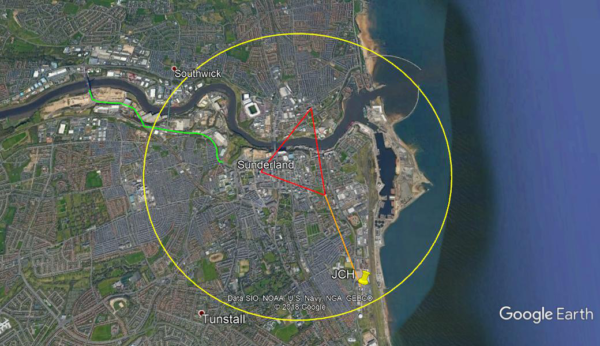 This figure shows the anticipated minimum reach (yellow ring) of the 5G pilot city centre ring (Red triangle)